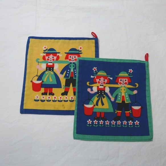 Two, 1970s Vintage German Folk Pot Holders with Recipes on Back, Colorful Cotton with Hanging Loops, Vintage Kitchen Linens, Cottage Chic by VictorianWardrobe on Etsy