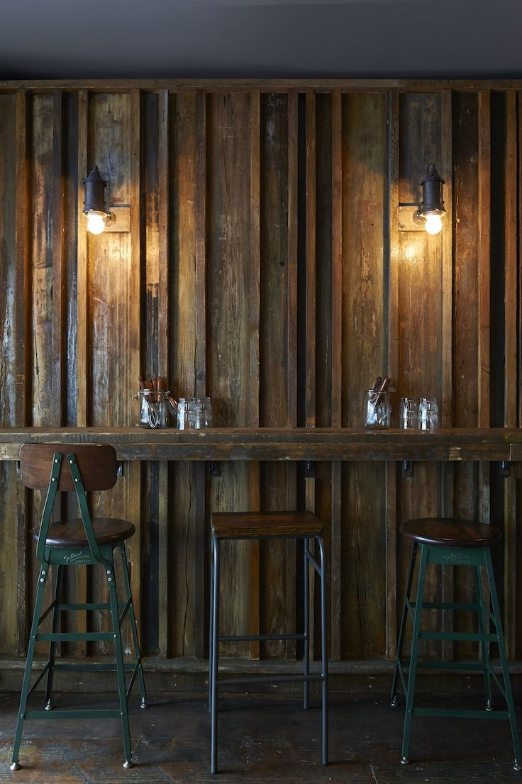 Barnyard restaurant in London designed by Brinkworth for Ollie Dabbous. http://www.brinkworth.co.uk/projects/barnyard #Timber #cladding #interiordesign