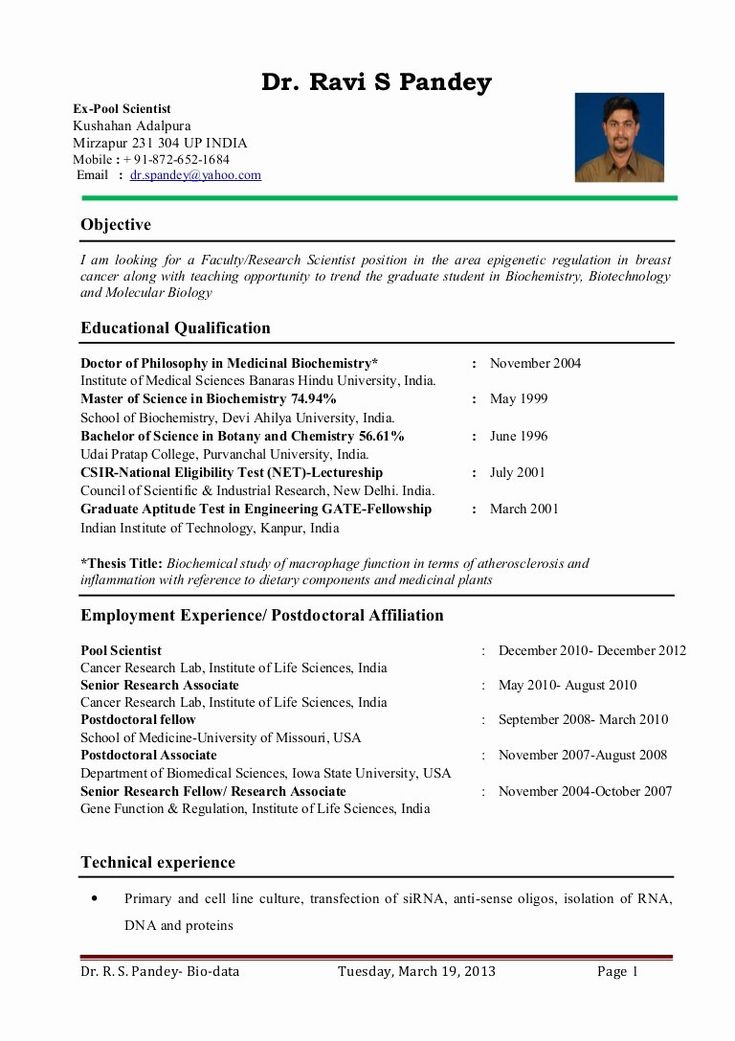 biology research assistant resume lovely dr ravi s pandey