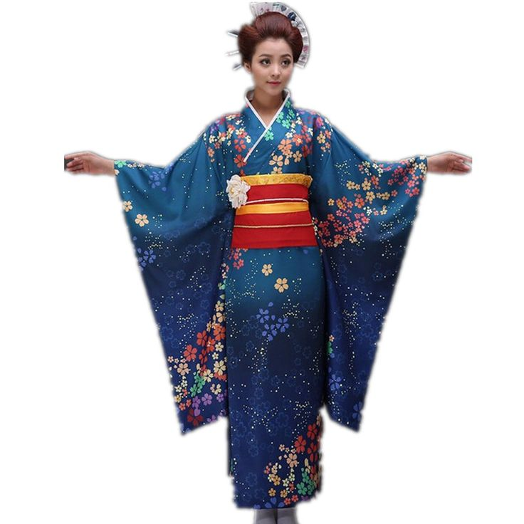 New Blue very good Traditional Japanese Women's Polyester Satin Kimono Yukata Mujeres Quimono Evening Dress Flower One Size