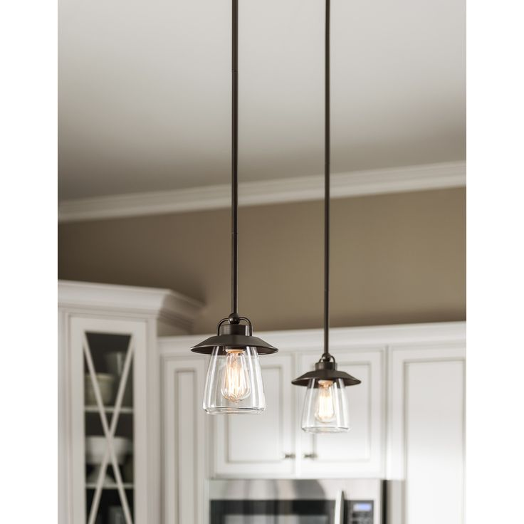 Shop allen + roth Bristow 6.87-in W Mission Bronze Mini Pendant Light with Clear Glass Shade at Lowes.com
