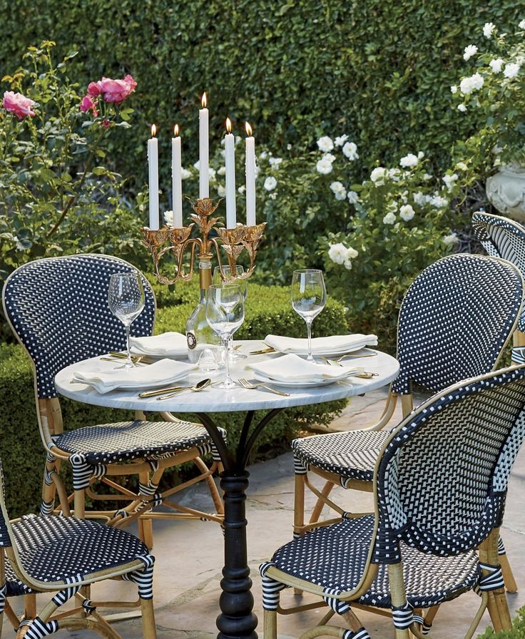 Create the allure of a French sidewalk café with our charming and comfortable Paris Bistro Dining Chairs. These colorful chairs derive their authentic look from strong bent rattan frame and a neatly handwoven, all-weather seat and back.