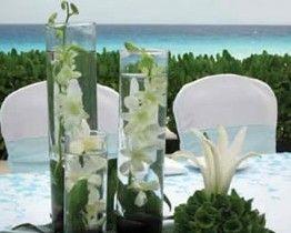 sets de 3 cilindros con orquideas  base con follage y lilies