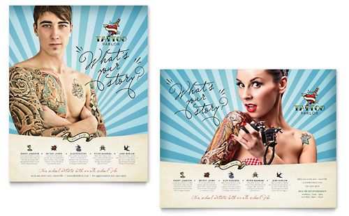 Body Art \ Tattoo Artist Poster Template Design Layouts - microsoft poster template