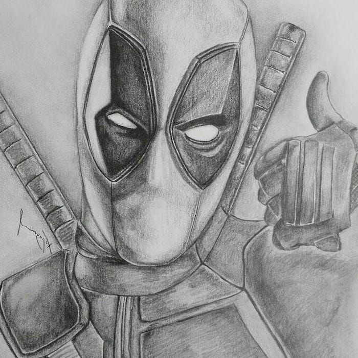 Deadpool Inspired Black And White Pencil Sketch What To Draw When Bored Pencil Portrait Marvel Art Drawings Deadpool Drawing Marvel Drawings