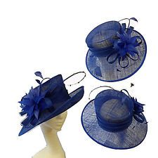 PETER BETTLEY ROYAL BLUE WEDDING ASCOT HAT FORMAL SINAMAY  MOTHER OF THE BRIDE