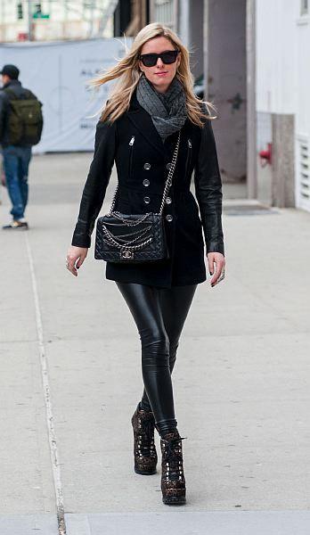 Nicky Hilton rocks black faux Leather Leggings