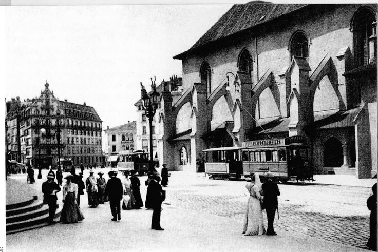 Place St. Francois : les trams sont là et les éclairages publics se partagent gaz et élecricité. ASL lausanne DR. 1882