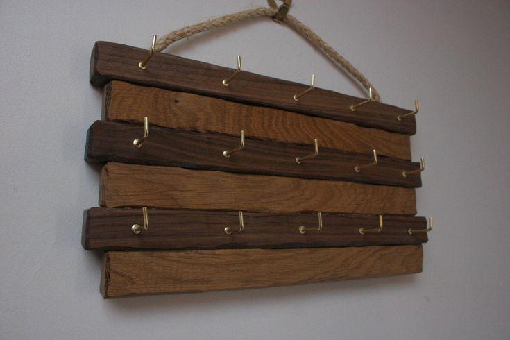 Bespoke ,Handmade Key ring holder oak and Walnut. Hooks for 15 keys by AndrewsRusticTouches on Etsy