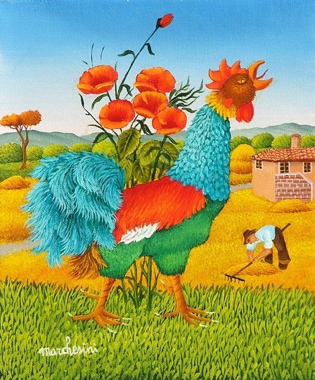 'I'm the cock of the walk' he cooed...Gallo by Cesare Marchesini of Italy