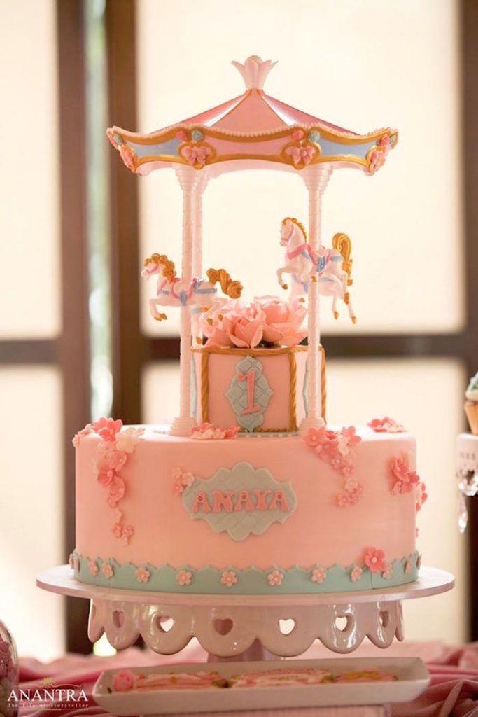 Carousel cake from a Sweet Carousel Birthday Party on Kara's Party Ideas | KarasPartyIdeas.com (27)