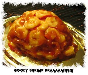 Shrimp Brain Jello Mold Gross Halloween Food,Made this last year for our Halloween Party,Looks GROSS,but taste GREAT!!