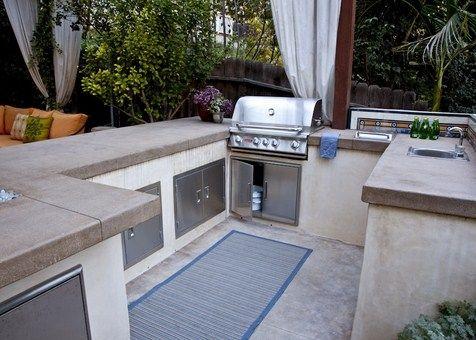 White Concrete Countertops Bbq