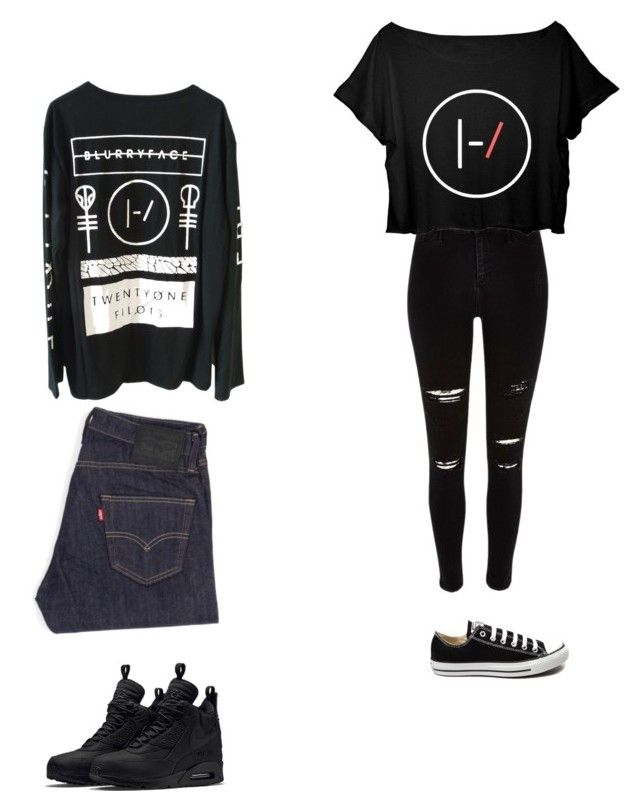 """twenty one pilots"" by fashionlover208 on Polyvore featuring interior, interiors, interior design, home, home decor, interior decorating, Converse, Levi's and NIKE"