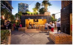 The new Eat Street Markets in Hamilton, Brisbane. Mini restaurants in restyled shipping containers.