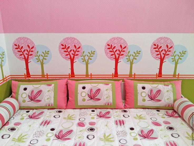 Купить Детская розовый с салатовым - розовый, детская, розовая детская, розовый плед, валики