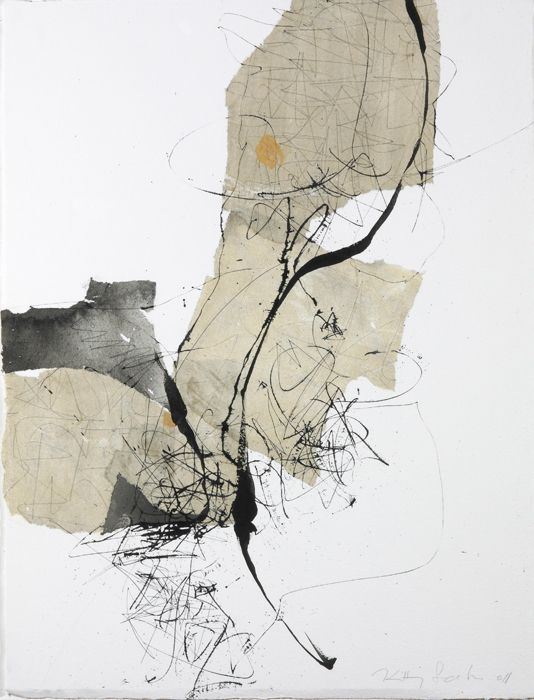 Making marks on varying surfaces 165 by Kitty Sabatier, 2010, 50 x 65cm, mixed media