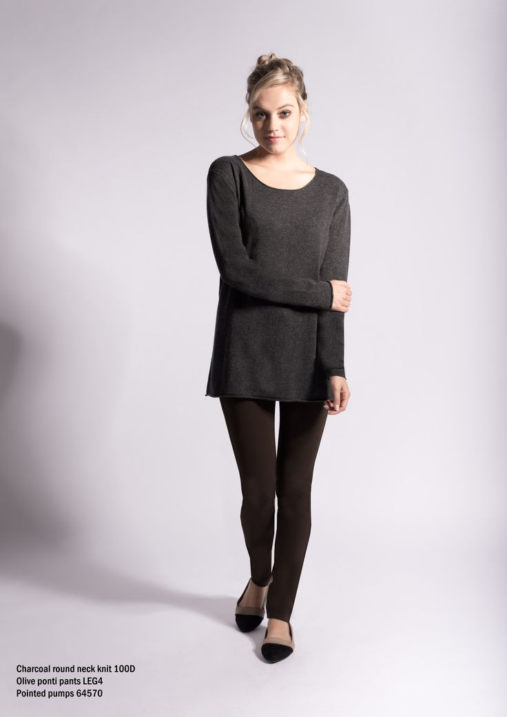 100D Charcoal round neck knit