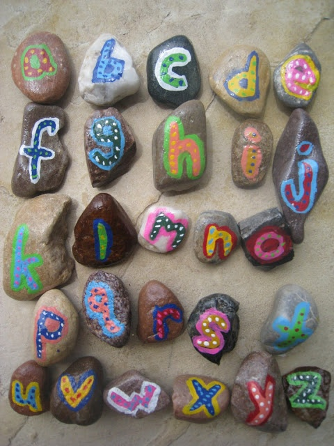 Rock Art I want to make these so they can go in the bathtub and my kids can spell things under the water.