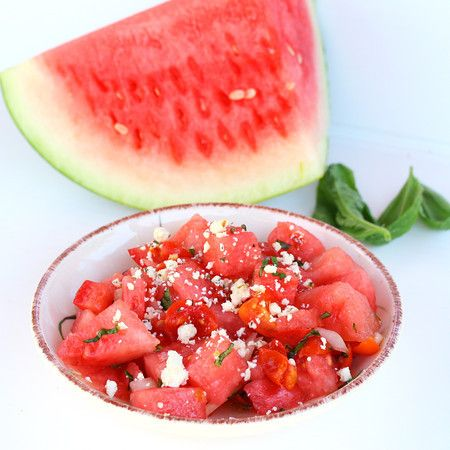 Watermelon tomato salad with basil and feta
