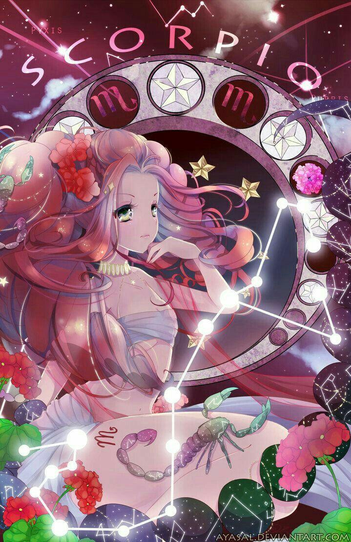 Scorpio, Anime girl, text; Zodiac Signs