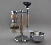 Silvertip Badger cabelo barbear kit de Metal & madeira de faia pincel de barbear & Bowl(China (Mainland))