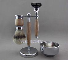 Silvertip Badger cabelo barbear kit de Metal & madeira de faia pincel de barbear & Bowl(China (Mainland))
