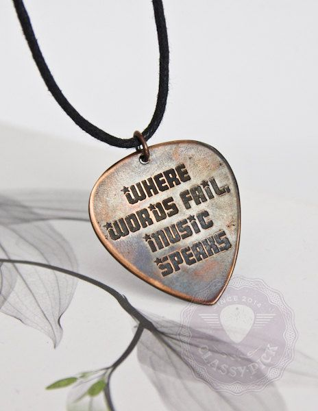 Guitar pick necklace Where words fail music speaks by AmulettaHu