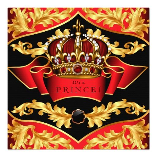 Red and Gold Royal Baby Shower Invitation