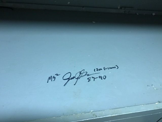 Cool thing about the USS Iowa, if you come back to the ship as a museum, but you were stationed there when it was commissioned, you get to sign your bed.  Here is a signature of one of those signatures.