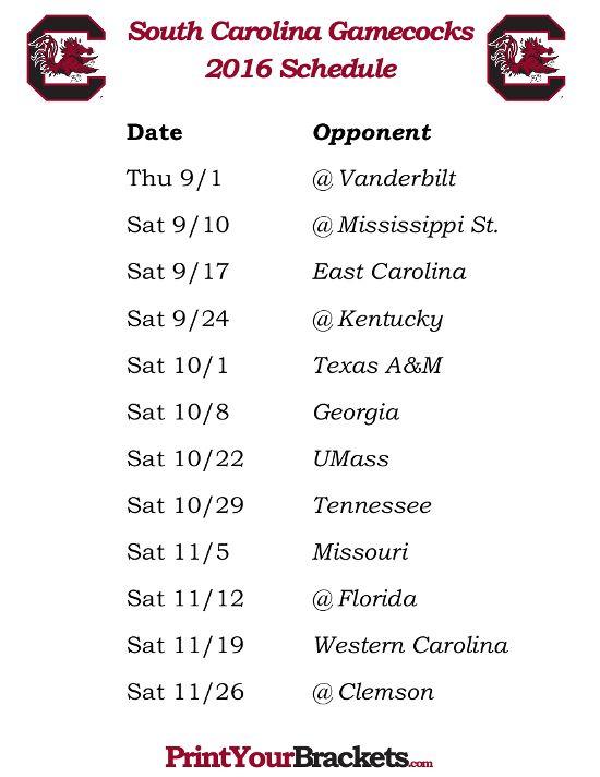 Printable South Carolina Gamecocks Football Schedule 2016