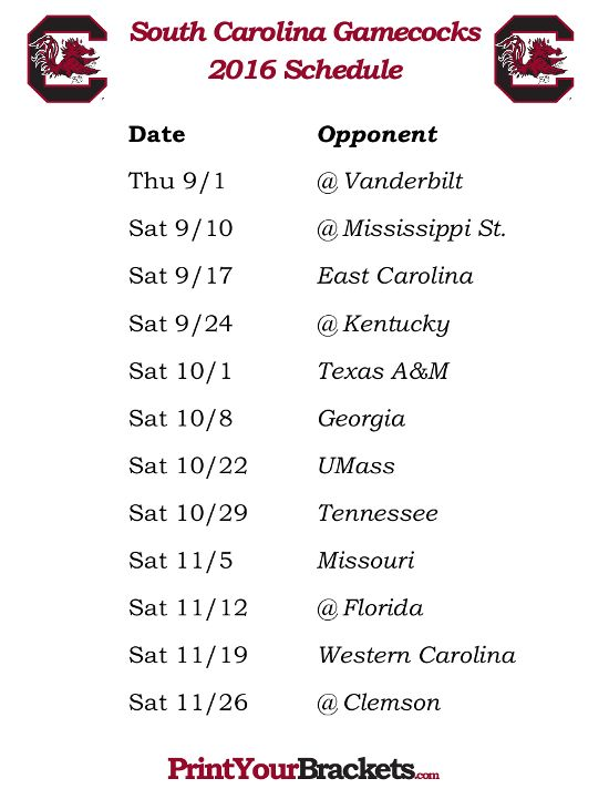Printable South Carolina Gamecocks Football Schedule 2016