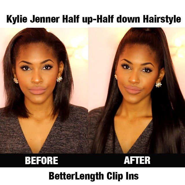 """[Customer PHOTOSHOW From Instagram]Kylie Jenner half up-half down hairstyle shared by @beautybycarla. ONE SET of our 20"""" light yaki clip ins is used in this hairstyle. Tutorial for this hairstyle is in her YouTube. Don't forget to check it out Share us your ways that you rockin our clip ins, we'd love to hear from you #betterlength #betterlengthhair #clipins #hairstyles #halfupandhalfdown #clipinsforblackgirl #clipinsforblackwomen #clipinsfornaturalhair #lightyaki #clipinsforrelaxedhair"""