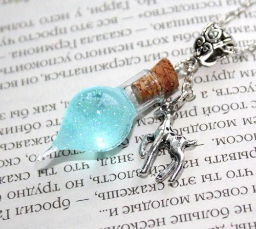 Las lágrimas de Snape Recuerdos Botella de cristal Vial, Dow Patronus collar.  Harry Potter