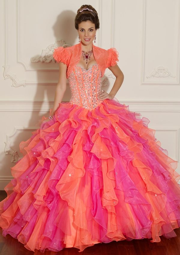 BallGown Sweetheart Organza Floor-length Multi Colours Lace-up Quinceanera Dress at sweetquinceaneradress.com