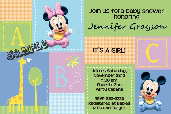 Baby Mickey and Minnie Mouse Baby Shower Invitations  -  Get these invitations RIGHT NOW. Design yourself online, download and print IMMEDIATELY! Or choose my printing services. No software download is required. Free to try!