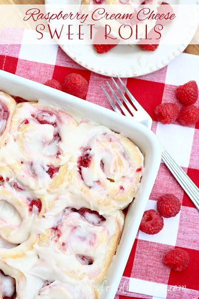 Raspberry Cream Cheese Sweet Rolls Recipe | Easy to make sweet rolls filled with a raspberry cream cheese filling and topped with a powdered sugar glaze. Perfect for breakfast or dessert!