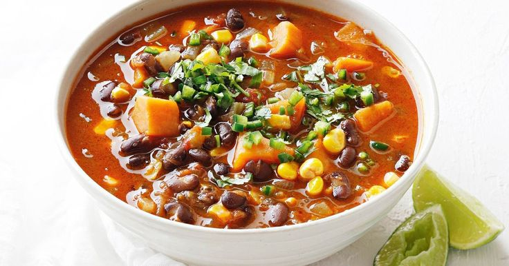 This spicy, satisfying vegetarian soup has a creamy texture and is rich in protein and fibre, thanks to the black beans.
