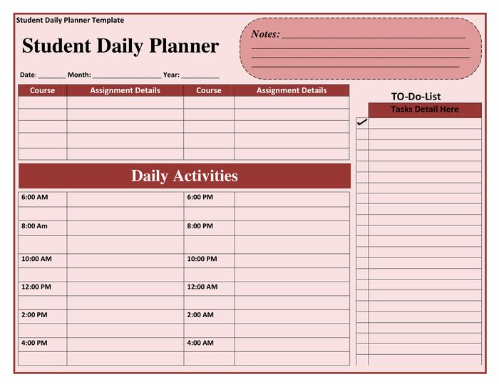 Student Weekly Planner Template New Daily Planner Template In Word