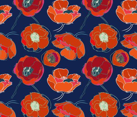 California Poppies fabric by limezinniasdesign on Spoonflower - custom fabric