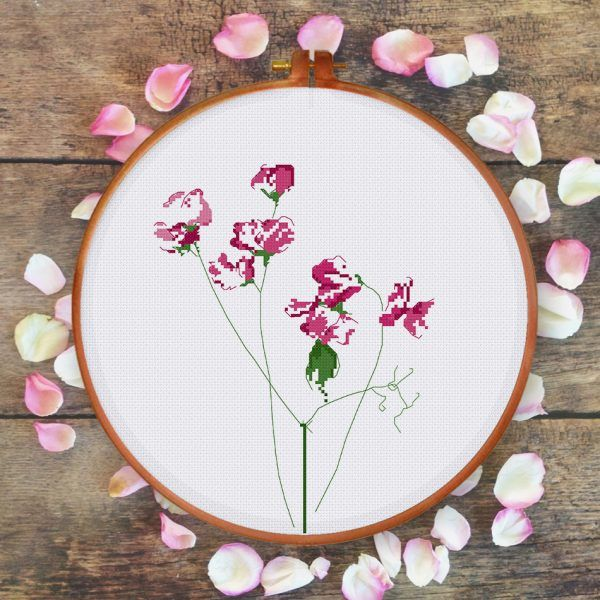 Sweet Pea Flower cross stitch pattern natural modern minimalist ThuHaDesign