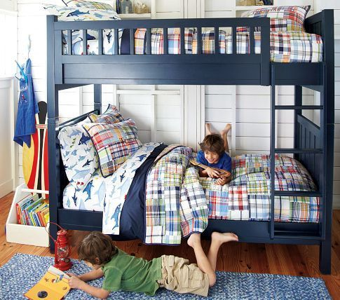 navy bunk beds - might paint ours like these for Phoenix new room: