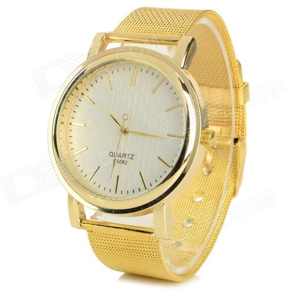 ES68967 Women's Fashionable Zinc Alloy Band Analog Quartz Wrist Watch - Gold (1 x 377)