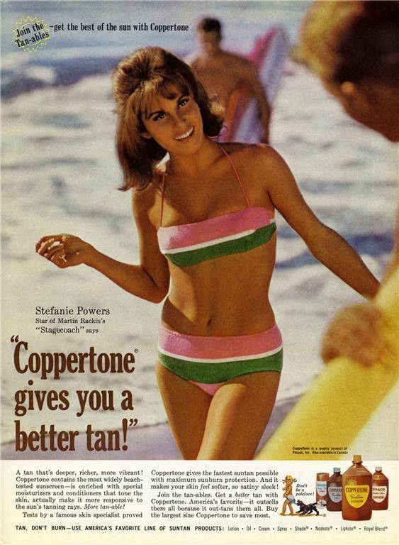 """A 1966 Coppertone suntan lotion advertisement featuring Stefanie Powers from the movie """"Stagecoach"""". In a bikini enjoy the sun and surf! """"Coppertone gives you a better tan"""" -A vintage 1966 Stephanie P"""