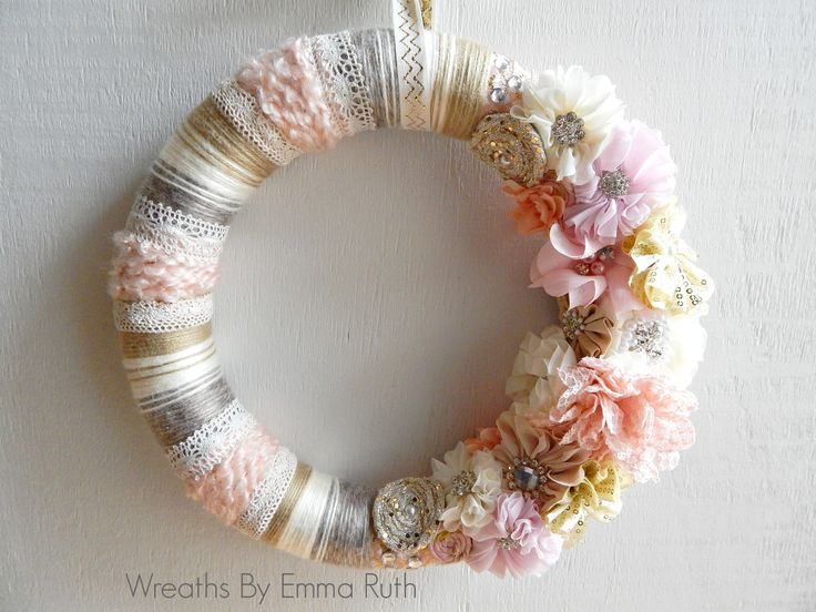 Shabby Chic Pink and Lace Wrapped Yarn Wreath by Wreaths By Emma Ruth