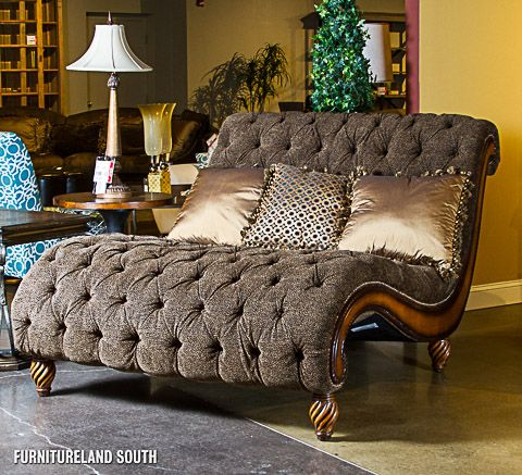 Tufted fringed chair and a half rachlin classics for Chaise and a half