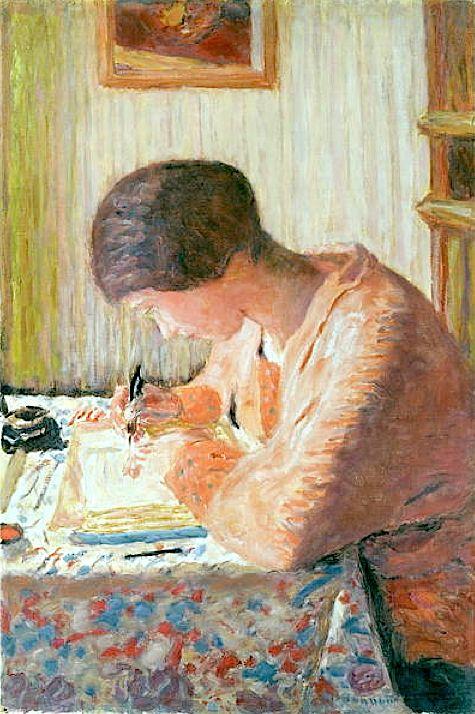 Woman Writing (oil on canvas), Bonnard, Pierre (1867-1947) Heerlijk ouderwets! brieven schrijven en krijgen.