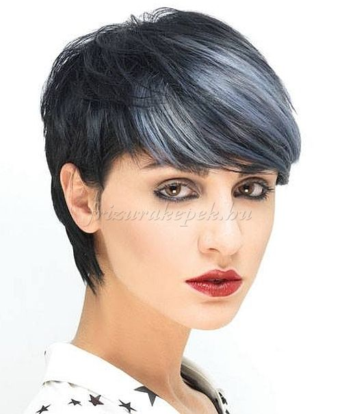 rövid frizurák, rövid frizurák hosszú frufruval - fekete frizura kék melírrel