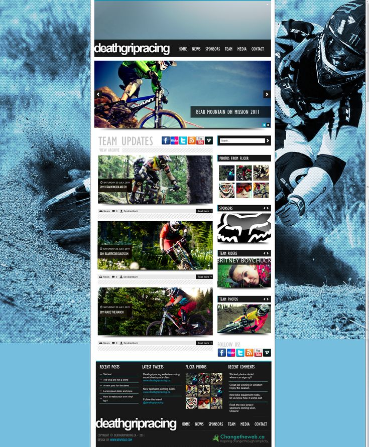 Website design www.deathgripracing.ca  As one of the few downhill mountain biking groups in western Canada, the group was trying to gain sponsors. As an effort to put forward photos, videos and articles to the web to show the world what they can do and in turn gaining new sponsors. @DEATHGRIPRACING #DEATHGRIPRACING