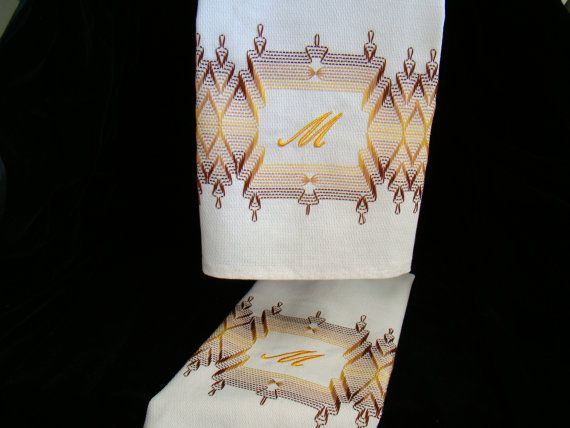Swedish Weaving Embellished dish towels by FuzzyDuckCreations, $31.00